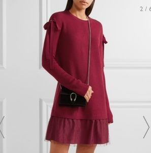 🚨Red Valentino wool, point d'esprit tulle dress